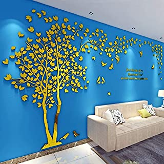 KINBEDY Acrylic 3D Tree Wall Stickers Wall Decal Easy to Install &Apply DIY Decor Sticker Home Art Decor. Tree with Golden Leaves, Left Large.