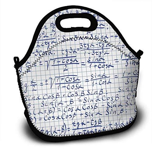 Kinder-Lunchrucksack, trigonometrische Funktion Mathematische Formel Blau Weiß Lunch-Tragetaschen Lunch-Bag Lunchboxen Handtasche Athletic Lunch Container 27,5 x 29 x 14,5 cm