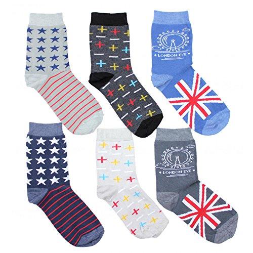 TupTam Kinder Unisex Socken Bunt Gemustert 6er Pack, Farbe: Junge 6, Socken Größe: 35-38