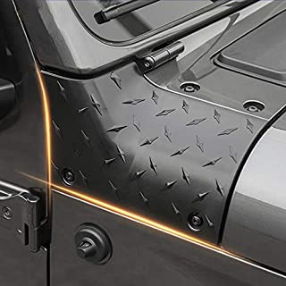 RT-TCZ Cowl Body Armor Jeep Outer Cowl Covers Corner Guards JL Exterior Accessories Parts Textured Black Pair for 2018 2019 Jeep Wrangler JL Sahara Sport Sports Rubicon & Moab