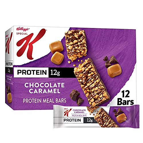Kellogg's Special K Protein Bars, Meal Replacement, Protein Snacks, Chocolate Caramel, 19oz Box (12 Bars)