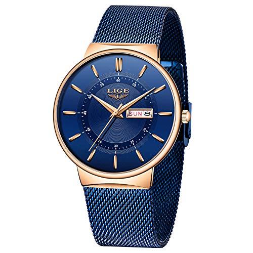 LIGE Herren Uhren Ultra Dünne Schwarze Minimalistische Analog Quarz Edelstahl Wasserdicht Armbanduhr Männer mit Datumsanzeige Mode Sport Mesh Armbanduhr Herren (Gold Blue)