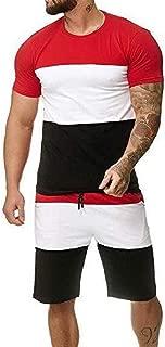 FSSE Men's T Shirts Short Sleeve Color Block Sportswear Shorts Tracksuit