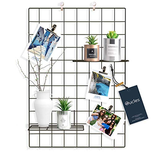 Oucles Grid Panel Set of 2, Grid Mesh Display Panel Decorative Iron Rack Clip Photograph Wall Hanging Picture wall,Ins Art Display Photo wall, 25.6x17.7 Inches(Black)