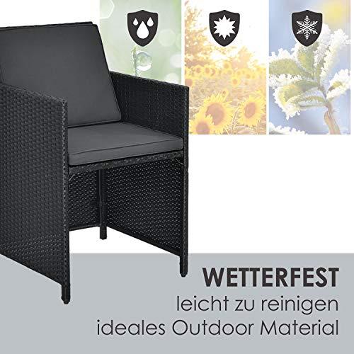 Juskys Polyrattan Sitzgruppe Baracoa XXL 13-teilig wetterfest & stapelbar – Gartenmöbel Set mit 8 Stühle, 4 Hocker & Tisch für Garten & Terrasse - 7