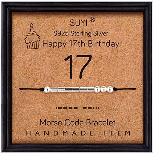 Suyi Regalos de cumpleaños número 17 para niñas Pulsera Código Morse Pulsera de Plata esterlina Joyas de cumpleaños Regalos de graduación de 17 años para Ella 17