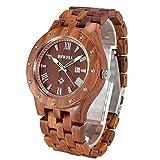 BEWELL W109A Reloj De Madera Para Reloj Hecho a Mano De Los Hombres Con Fecha Mostrar La Función, Reloj De Pulsera De Clásico Estilo Empresarios, Correa Ajustable