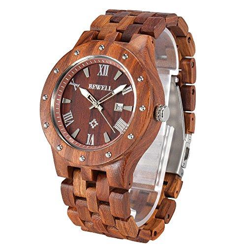 BEWELL W109A Reloj De Madera Para Reloj Hecho a Mano De Los Hombres Co