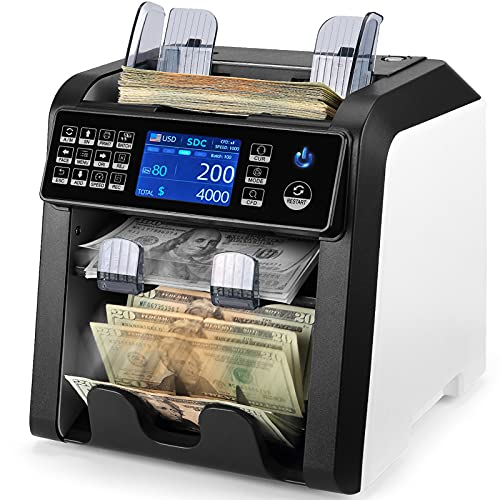 MUNBYN 2-Pocket Money Counter Machine Mixed Denomination and Sorter, Sort on DENOM/FACE/ORI, Value Counting, Counterfeit Detection 2 CIS/UV/MG/IR,...