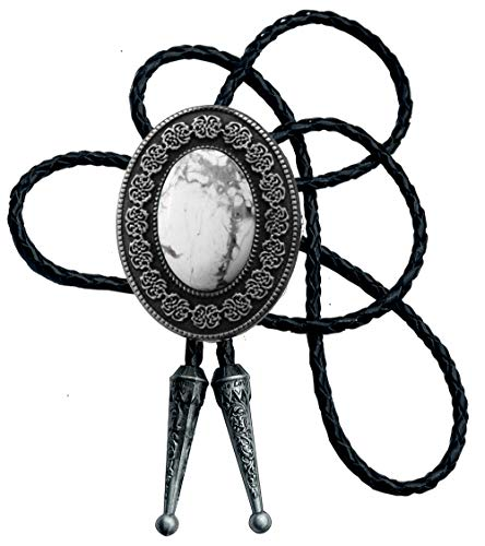 Moranse Bolo - Corbata con flor redonda y piedra preciosa estilo Parterre y cuerda de cuero vacuno -  Blanco -  Medium