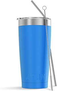 Atlin Tumbler [20 oz. Double Wall Stainless Steel Vacuum Insulation] Travel Mug [Crystal Clear Lid] Water Coffee Cup [Straw Included] (Silver) For Home,Office,School, Ice Drink, Hot Beverage