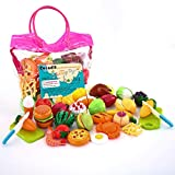 Sotodik 32PCS Cutting Toys Pretend Food Fruits Vegetable Playset Educational Learning Toy Kitchen...