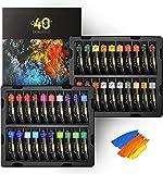 Magicfly Pinturas al Óleo 38 Colores 40 Tubos de 18 ml, Kit de Óleo para Pintar Lienzos Murale Niños Principiantes Artistas, 2 Colores Metalizados