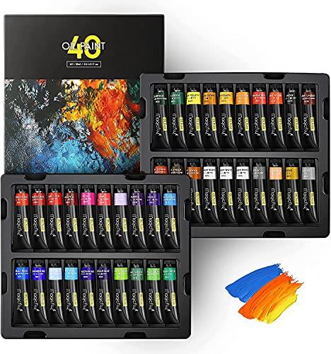 Magicfly Colori a Olio d'Arte, 40 Tubi(18ml), Set Colori Olio Include Colori Classici, Dorati e Argentati, Colori ad Olio per Pittura per Principianti, Hobbisti e Artisti
