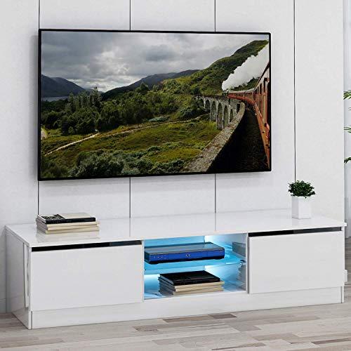 DADEA Mueble bajo con luces LED RGB de 16 colores, mueble de TV moderno, soporte de TV LED, mesa de 47 pulgadas, armario de almacenamiento, frontal blanco brillante y placa mate blanca