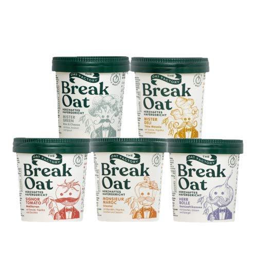 Break Oat 5er-Pack Fertiggerichte Mix | herzhafte Hafergerichte mit Gewürzen & natürlichen Zutaten | gesunde & vegane Mahlzeit in der 5-Minuten Terrine | für Zuhause & unterwegs | 5 leckere Sorten