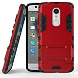 ZTE Axon 7 Mini Funda, SATURCASE Híbrido 2 en 1 [PC & Silicona] Doble Capa Bumper Protector Funda Carcasa Case con Apoyo para ZTE Axon 7 Mini (Rojo)