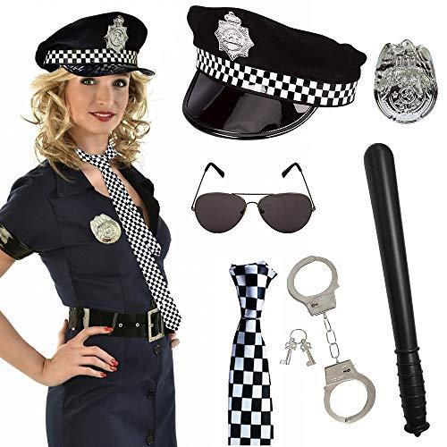 SPECOOL 6pcs Polizei Kostüm für Party mit Polizeimütze, Abzeichen, Krawatte, Spielzeughandschellen, Plastikstab, Schwarzer Brille für Kinder Männer Frauen