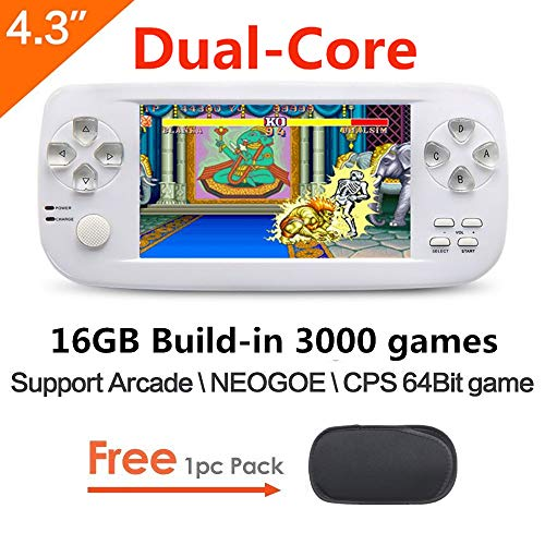 CZT Dual-Core da 4.3 Pollici 16GB 64bit Console di Gioco Portatile Console di Gioco Portatile costruita in 3000 Giochi Senza ripetizioni per Fotocamera NEOGEO/CPS/GBA/GBC/GB/SFC/FC/MD /GG/MS MP4