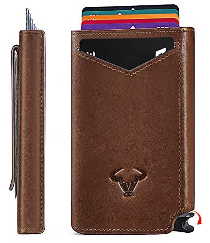 Mens Slim Wallet Card HolderBigant Aluminium Money Clip Wallet with Top Grain Leather Case 28quotx45quot 10 CardsRFID BlockingPopup Cards Access