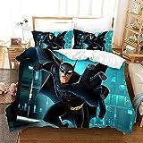 Batman (Azul) Funda Nórdica Impresa en 3D Juego de Cama demicrofibra Suave (con Cierre de Cremallera) 140*200cm Y Dos Fundas de Almohada 50*75cm Apto para Adultos Y Niños
