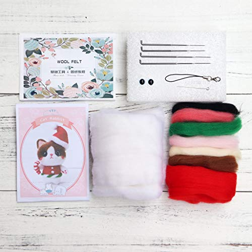 suoryisrty Christmas Cat Wool Felt Craft DIY Unfinished Poked Set Handcraft Needle Material