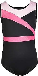 Prettyia Kids Girls Shiny Gymnastics Ballet Dance Leotards Sleeveless Black Pink Spliced Design Stretch Sport Gym Costume