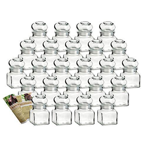 gouveo 24er Set Gewürzgläser Quadrat 120 ml mit Glaskorken incl. Flaschendiscount-Rezeptbroschüre, Ideal für Gastgeschenke, Korkengläser, Glasdose, Aufbewahrungsglas, Korkenglas eckig