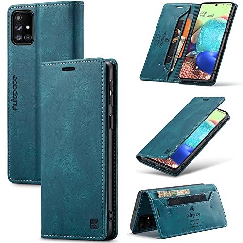 Dclbo Funda para Samsung Galaxy A71, funda de piel para teléfono móvil, funda fina con tapa, cierre magnético, antigolpes, con tarjetero, funda para Samsung Galaxy A71, color azul