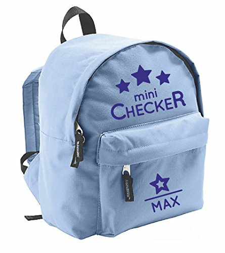 Kindergartenrucksack mit Namen | inkl. NAMENSDRUCK | Motiv Mini Checker | Rucksack für Kinder Jungen Mädchen hell-blau & Cooler Spruch