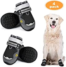 Breathable Dog Booties for Hot Pavement Dog Boots, Mesh Dog Shoes, Outdoor Paw Protectors with Reflective Adjustable Straps and Wear-Resisting Anti-Slip Soles Summer Pet Shoes for Medium to Large Dogs