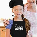Shirtracer Kinderschürze mit Motiv - Junior Chefkoch - 60 cm x 50 cm (H x B) - Schwarz - schürze junior - X978 - Kochschürze und Schürze für Kinder - 2