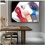 cuadros decoracion salon Resumen sexy labios rojos figura de mujer moda pintura al óleo sobre lienzo carteles e impresiones arte cuadro de pared para vivir oom 123.6x31.5in (60x80cm) x1pcs sin marco