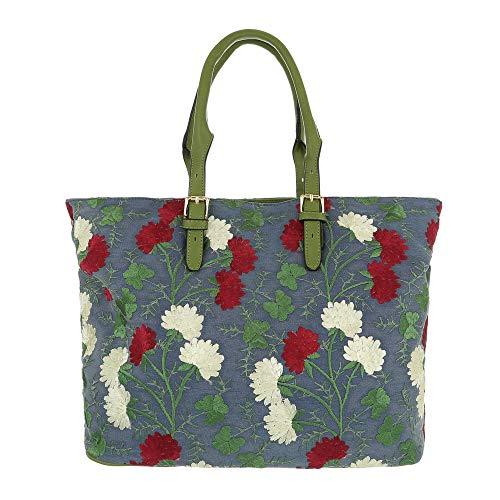 Dudlin Damen Schultertasche Model: Blumenstickerei, Handtasche, Shopperbag in hochwertiger Textiloptik (10074)