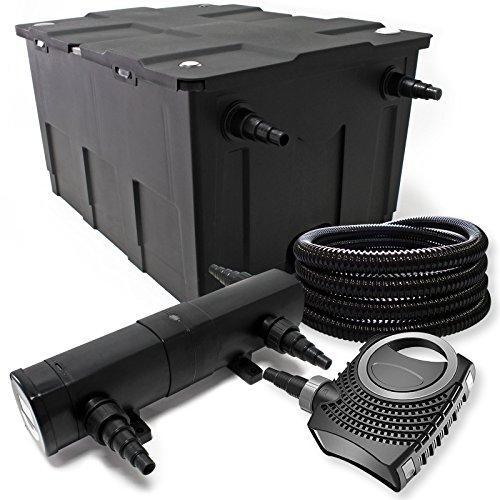 Filter Set aus Bio Teichfilter 60000l, 36W UVC Teichklärer, 80W Pumpe, Schlauch