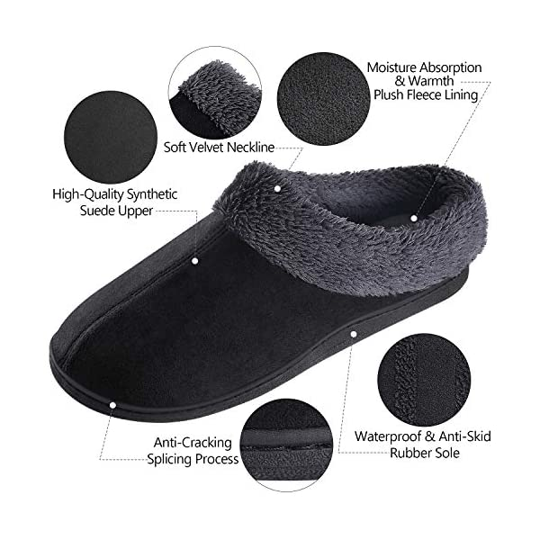 Homitem Mens Slippers Cozy Memory Foam Slippers with Fuzzy Plush Lining, Slip on Clog House Shoes with Anti-Skid Indoor Outdoor Rubber Sole