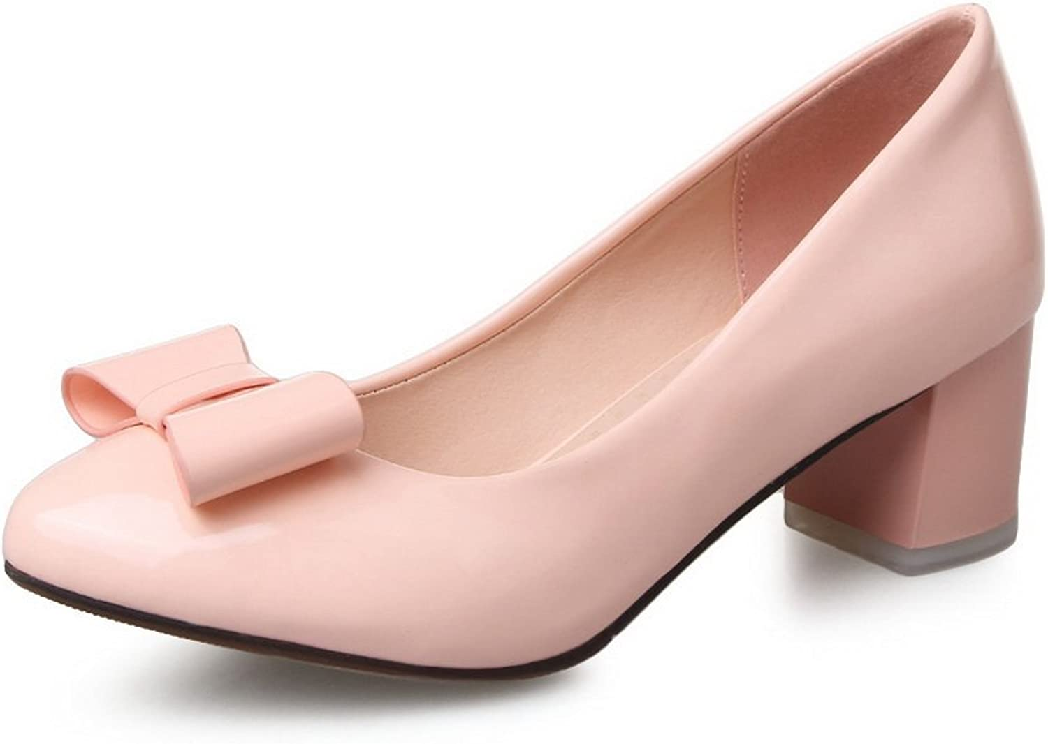 BalaMasa Girls Slip-On Kitten-Heels Solid Patent Leather Pumps-shoes
