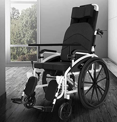 RONGW JKUNYU Rollstühle, zusammenklappbar, 24 kg, Transport, Hebebeinkontrolle, Rückenlehne, Sitz, halb liegend, 150 kg Tragkraft, 47 x 40 cm, Sitz, abnehmbarer Schreibtisch und Toilettenstuhl