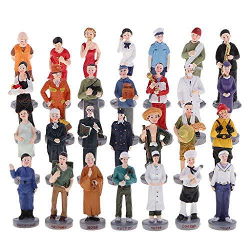 sharprepublic Juguete Figura Modelos para Sandplay Modelismo Layout Diorama - 28 Piezas Personas de profesión (3x2x9cm)