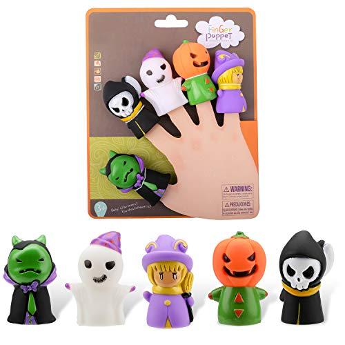 Juego de marionetas para dedos de Halloween Qpout, 5 piezas de juguetes con dedos para niños y adultos, accesorios para fiestas de Halloween