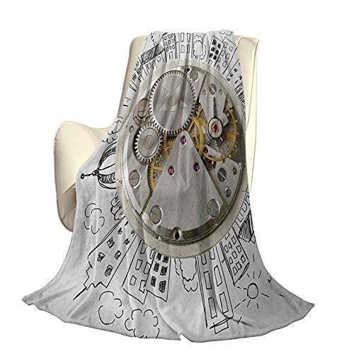 Clock Comfortable Home Series Blankets an Alarm Clock with Clouds and Buildings Around It in Vintage Style Pattern Design Lightweight for Living Room W70 x L70 Inch Pale Grey