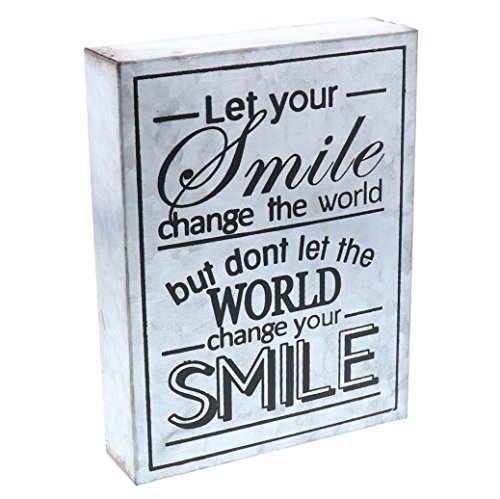 Barnyard Designs Let Your Smile Change The World Galvanized Metal Box Wall Art Sign, Primitive Country Farmhouse Home Decor Sign with Sayings 8' x 6'