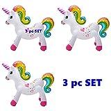 Happy Deals~ (Set of 3) Rainbow Unicorn - 24' Inflatable Unicorns