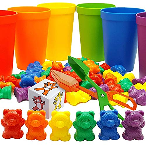 Skoolzy Rainbow Counting Bears with Matching Sorting Cups, Bear Counters and Dice Math Toddler Games 71pc Set - Bonus Scoop Tongs, Storage Bags…