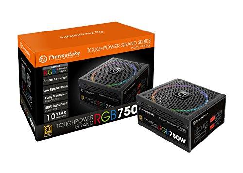 Thermaltake Toughpower Grand RGB 750W 80+ Gold Smart Zero 256-Color RGB Fan Fully Modular Power Supply 10 YR Warranty PS-TPG-0750FPCGUS-R