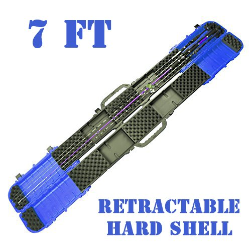 JEKOSEN ECOODA Hard Shell Fishing Rod Airline Carrier Hard Case-Heavy Duty/Retractable/Portable Fishing Rod Reel Case Box Travel Carry Case Rod Storage