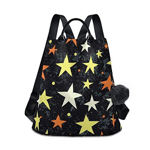Reiserucksack, gelb, weiß, orange, Stern, leicht, wasserdicht, Oxford, klein, für draußen, leger, Diebstahlschutz, Studentenrucksack