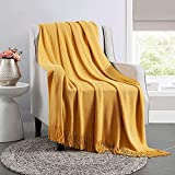 Mustard Yellow Bed Throw Blanket for Sofa Couch 50'x60', Lightweight Acrylic Knit Decorative Blanket with Tassels for Living Room