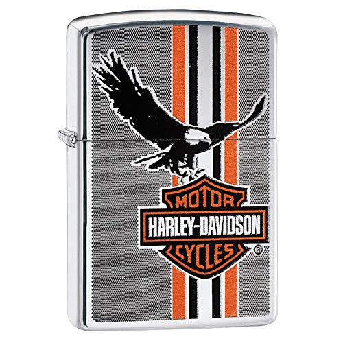 Zippo Zippo Feuerzeug Harley-Davidson Eagle Wings Pocket, Unisex, 29656, Chrome, Regular chrome