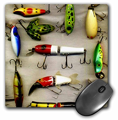 3dRose LLC 8 x 8 x 0.25 Inches Mouse Pad, Old Lures Fishing (mp_987_1)